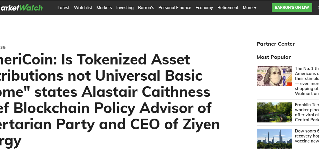 """AmeriCoin: Is Tokenized Asset Distributions not Universal Basic Income"""